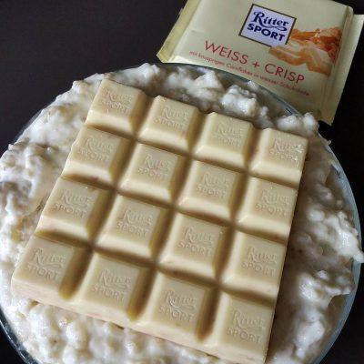 Pudding Oats mit Weißer Crisp Schokolade von Rittersport Schoko King Grizztoph